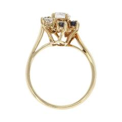 Chaumet Chaumet Paris Marquise Sapphire and Round Diamond Ring 18 Karat Yellow Gold - 1795458
