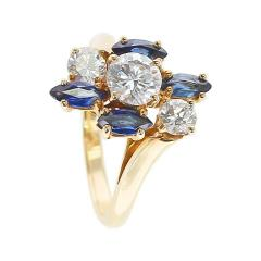 Chaumet Chaumet Paris Marquise Sapphire and Round Diamond Ring 18 Karat Yellow Gold - 1795459