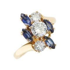 Chaumet Chaumet Paris Marquise Sapphire and Round Diamond Ring 18 Karat Yellow Gold - 1795460