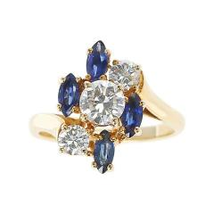 Chaumet Chaumet Paris Marquise Sapphire and Round Diamond Ring 18 Karat Yellow Gold - 1795461
