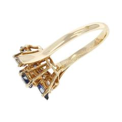 Chaumet Chaumet Paris Marquise Sapphire and Round Diamond Ring 18 Karat Yellow Gold - 1795464