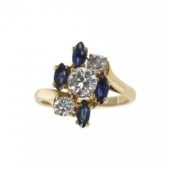 Chaumet Chaumet Paris Marquise Sapphire and Round Diamond Ring 18 Karat Yellow Gold - 1797667