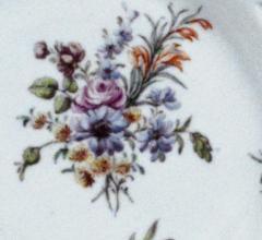 Chelsea Porcelain Manufactory Antique English Porcelain Botanical Chelsea Latticed Circular Dishes - 1778862