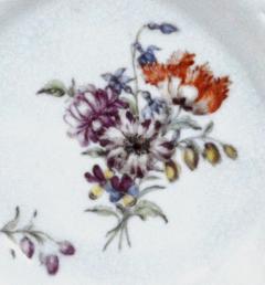 Chelsea Porcelain Manufactory Antique English Porcelain Botanical Chelsea Latticed Circular Dishes - 1778863