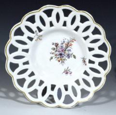 Chelsea Porcelain Manufactory Antique English Porcelain Botanical Chelsea Latticed Circular Dishes - 1778864
