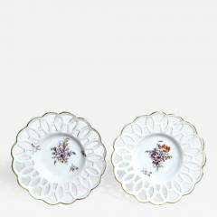 Chelsea Porcelain Manufactory Antique English Porcelain Botanical Chelsea Latticed Circular Dishes - 1783407