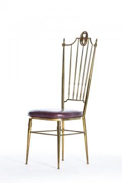 Chiavari Pair of Italian Brass Chiavari Side Chairs with Aubergine Crocodile Leather - 2059695
