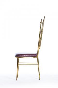 Chiavari Pair of Italian Brass Chiavari Side Chairs with Aubergine Crocodile Leather - 2059696