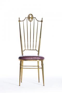 Chiavari Pair of Italian Brass Chiavari Side Chairs with Aubergine Crocodile Leather - 2059697