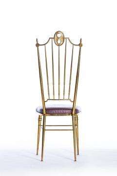Chiavari Pair of Italian Brass Chiavari Side Chairs with Aubergine Crocodile Leather - 2059698