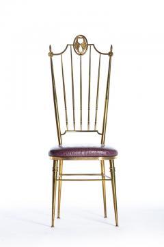 Chiavari Pair of Italian Brass Chiavari Side Chairs with Aubergine Crocodile Leather - 2059699