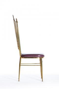 Chiavari Pair of Italian Brass Chiavari Side Chairs with Aubergine Crocodile Leather - 2059700