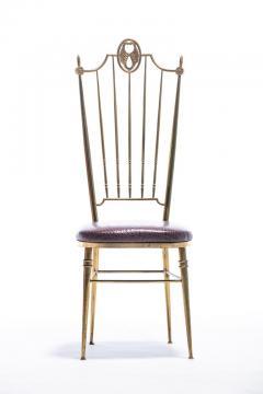 Chiavari Pair of Italian Brass Chiavari Side Chairs with Aubergine Crocodile Leather - 2059701