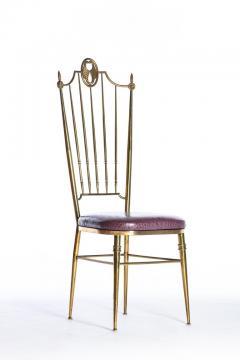 Chiavari Pair of Italian Brass Chiavari Side Chairs with Aubergine Crocodile Leather - 2059702