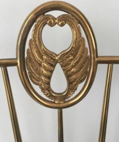 Chiavari Pair of Italian Brass Chiavari Side Chairs with Aubergine Crocodile Leather - 2059703