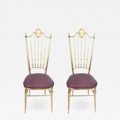 Chiavari Pair of Italian Brass Chiavari Side Chairs with Aubergine Crocodile Leather - 2059993