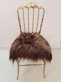 Chiavari Pair of Italian Massive Brass Chairs by Chiavari Upholstery Iceland Wol - 1170730