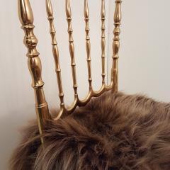 Chiavari Pair of Italian Massive Brass Chairs by Chiavari Upholstery Iceland Wol - 1170732