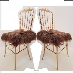 Chiavari Pair of Italian Massive Brass Chairs by Chiavari Upholstery Iceland Wol - 1170733