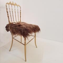 Chiavari Pair of Italian Massive Brass Chairs by Chiavari Upholstery Iceland Wol - 1170735