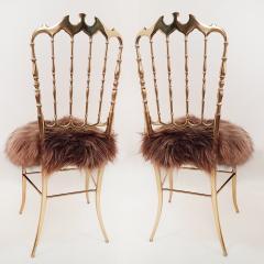 Chiavari Pair of Italian Massive Brass Chairs by Chiavari Upholstery Iceland Wol - 1170736