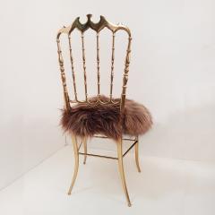 Chiavari Pair of Italian Massive Brass Chairs by Chiavari Upholstery Iceland Wol - 1170738