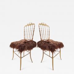 Chiavari Pair of Italian Massive Brass Chairs by Chiavari Upholstery Iceland Wol - 1171734