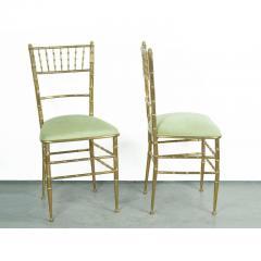 Chiavari Pair of Italian Mid Century Modern Green Velvet Brass Chiavari Style Chairs - 613207