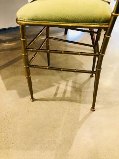 Chiavari Pair of Italian Mid Century Modern Green Velvet Brass Chiavari Style Chairs - 613209