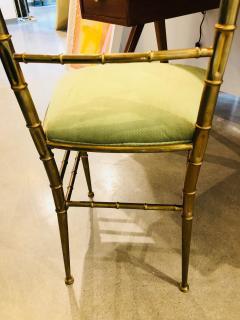 Chiavari Pair of Italian Mid Century Modern Green Velvet Brass Chiavari Style Chairs - 613210