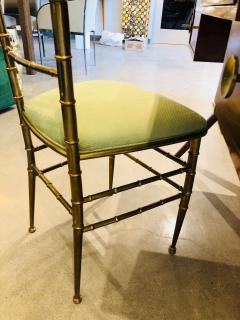 Chiavari Pair of Italian Mid Century Modern Green Velvet Brass Chiavari Style Chairs - 613211