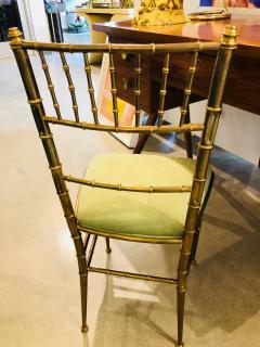 Chiavari Pair of Italian Mid Century Modern Green Velvet Brass Chiavari Style Chairs - 613212