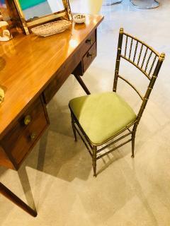 Chiavari Pair of Italian Mid Century Modern Green Velvet Brass Chiavari Style Chairs - 613213
