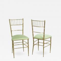 Chiavari Pair of Italian Mid Century Modern Green Velvet Brass Chiavari Style Chairs - 615329