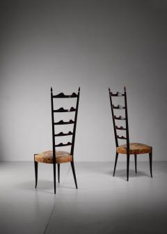 Chiavari Paolo Buffa pair of mahogany Chiavari chairs Italy 1950s - 1114646