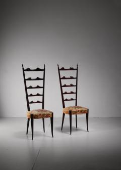 Chiavari Paolo Buffa pair of mahogany Chiavari chairs Italy 1950s - 1114647