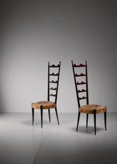 Chiavari Paolo Buffa pair of mahogany Chiavari chairs Italy 1950s - 1114648