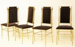Chiavari Suite of four solid brass Chiavari chairs Italy 1970s - 1041563