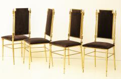 Chiavari Suite of four solid brass Chiavari chairs Italy 1970s - 1041564