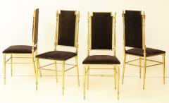 Chiavari Suite of four solid brass Chiavari chairs Italy 1970s - 1041565