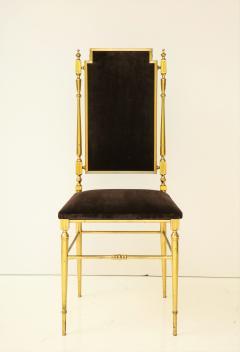 Chiavari Suite of four solid brass Chiavari chairs Italy 1970s - 1041569