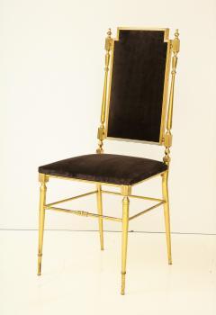 Chiavari Suite of four solid brass Chiavari chairs Italy 1970s - 1041576