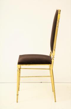 Chiavari Suite of four solid brass Chiavari chairs Italy 1970s - 1041577