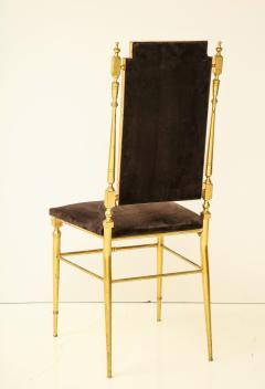 Chiavari Suite of four solid brass Chiavari chairs Italy 1970s - 1041578