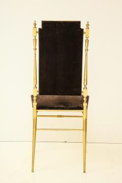 Chiavari Suite of four solid brass Chiavari chairs Italy 1970s - 1041579