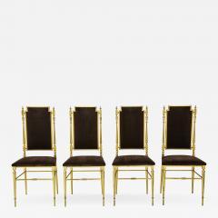 Chiavari Suite of four solid brass Chiavari chairs Italy 1970s - 1045077