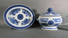 Chinese Porcelain 18th Century Chinese Export Porcelain Blue Fitzhugh Soup Tureen Cover Stand - 1614194