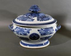 Chinese Porcelain 18th Century Chinese Export Porcelain Blue Fitzhugh Soup Tureen Cover Stand - 1614196