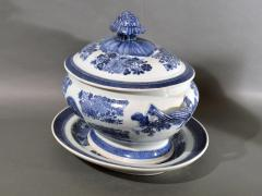 Chinese Porcelain 18th Century Chinese Export Porcelain Blue Fitzhugh Soup Tureen Cover Stand - 1614197