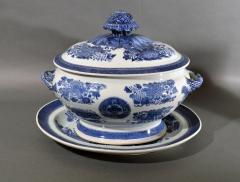 Chinese Porcelain 18th Century Chinese Export Porcelain Blue Fitzhugh Soup Tureen Cover Stand - 1614198